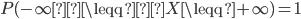 \begin{eqnarray} P(-\infty\leqq X\leqq +\infty)= 1 \end{eqnarray}
