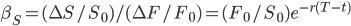\beta_S = (\Delta S / S_0)/(\Delta F / F_0) = (F_0 / S_0)e^{-r(T-t)}