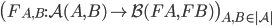 \big( F _ {A, B} : \mathcal{A}(A, B) \to \mathcal{B}(FA, FB) \big) _ {A, B \in |\mathcal{A}| }