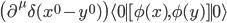 \big(\partial^\mu\delta(x^0-y^0)\big)\langle0\mid[\phi(x), \phi(y)]\mid0\rangle