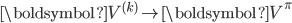 \boldsymbol{V}^{(k)} \rightarrow \boldsymbol{V}^{\pi}