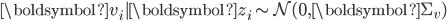 \boldsymbol{v}_{i}|\boldsymbol{z}_{i}\sim\mathcal{N}(\mathbf{0},\boldsymbol{\Sigma}_{v})