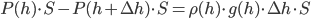 \color{red}{P(h) \cdot S - P(h + \Delta h) \cdot S} = \rho(h) \cdot g(h) \cdot \Delta h \cdot S
