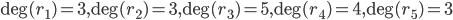 \deg (r_1)=3, \deg (r_2)=3, \deg (r_3)=5, \deg (r_4) = 4, \deg (r_5)=3