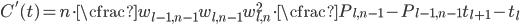 \displaystyle   C'(t) = n \cdot \cfrac{w_{l-1,n-1}w_{l,n-1}}{w_{l,n}^{2}} \cdot \cfrac{P_{l,n-1} - P_{l-1,n-1}}{t_{l+1} - t_{l}}