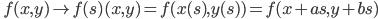 \displaystyle \quad f(x,y) \mapsto f(s) (x,y) = f(x(s),y(s)) = f(x+as, y + bs)