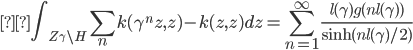 \displaystyle \int_{Z_\gamma\backslash H} \sum_n k(\gamma^n z,z) - k(z,z) dz = \sum_{n=1}^\infty \frac{l(\gamma)g(nl(\gamma))}{{\rm sinh}(nl(\gamma)/2)}