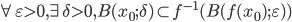 \displaystyle \forall \varepsilon > 0, \exists \delta > 0, B(x_0; \delta) \subset f^{-1}(B(f(x_0); \varepsilon))