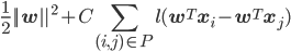 \displaystyle \frac{1}{2}||{\bf w}||^2+C \sum_{(i,j) \in P}l({\bf w}^T{\bf x}_i-{\bf w}^T{\bf x}_j)
