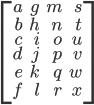 \displaystyle \left[ \begin{array} {rrrr} a & g & m & s \\ b & h & n & t \\ c & i & o & u\\ d & j & p & v \\ e & k & q & w \\ f & l & r & x \\ \end{array} \right]