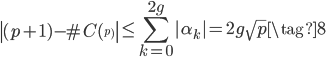 \displaystyle \left|(p+1) - \# C(\f_p)\right| \leq \sum_{k=0}^{2g}|\alpha_k|  = 2g\sqrt{p} \tag{8}