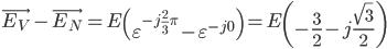 \displaystyle \vec{E_V}-\vec{E_N} = E\left( \varepsilon ^{-j \frac{2}{3}\pi} - \varepsilon ^{-j0}\right) = E\left( -\frac{3}{2} -j\frac{\sqrt{3}}{2}\right)