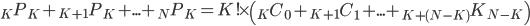 \displaystyle {}_K P_K + {}_{K+1} P_K + ... + {}_N P_K = K! \times \left( {}_K C_0 + {}_{K+1} C_1 + ... + {}_{K+(N-K)} K_{N-K} \right)
