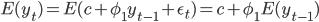 \displaystyle E(y_{t}) = E(c + \phi_{1} y_{t-1} + \epsilon_{t}) = c + \phi_{1} E(y_{t-1})