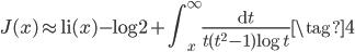 \displaystyle J(x) \approx {\rm li}(x) - \log 2 + \int_x^{\infty}\frac{{\rm d}t}{t(t^2 - 1) \log t} \tag{4}