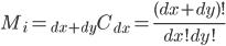 \displaystyle M_i = {}_{dx+dy} C_{dx} = \frac{(dx+dy)!}{dx!dy!}