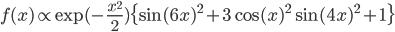 \displaystyle f(x) \propto \exp (-\frac{x^2}{2}) \{ \sin (6x)^2 + 3 \cos (x)^2 \sin (4x)^2 + 1 \}