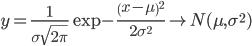 \displaystyle y=\frac{1}{\sigma \sqrt{2\pi}}\exp{-\frac{\left( x-\mu \right)^2}{2\sigma^2}} \to N(\mu , \sigma ^2)