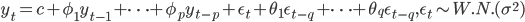 \displaystyle y_{t} = c + \phi_{1} y_{t-1} + \cdots + \phi_{p} y_{t-p} + \epsilon_{t} + \theta_{1} \epsilon_{t-q} + \cdots + \theta_{q} \epsilon_{t-q}, \epsilon_{t} \sim W.N. (\sigma^{2})