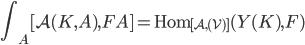 \displaystyle\int _ A [ \mathcal{A}(K,A),FA ] = \operatorname{Hom} _ {[\mathcal{A},(\mathcal{V})] } (Y(K), F)
