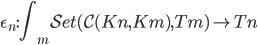 \epsilon _ n : \displaystyle\int _ m \mathcal{Set}( \mathcal{C}(Kn, Km), Tm) \rightarrow Tn