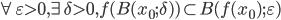 \forall \varepsilon > 0, \exists \delta > 0, f(B(x_0; \delta)) \subset B(f(x_0); \varepsilon)