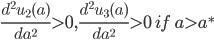 \frac {d^2 u_2 (a)}{da^2} \gt 0, \frac {d^2 u_3 (a)}{da^2} \gt 0 \ if \ a \gt a^*