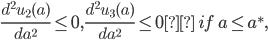\frac {d^2 u_2 (a)}{da^2} \le 0, \frac {d^2 u_3 (a)}{da^2} \le 0 \ if \ a \le a^*,