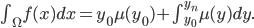 \int_{\Omega } f(x) dx = y_0 \mu(y_0) + \int_{y_0}^{y_n}\mu(y) dy.