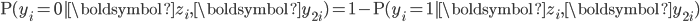 \mathrm{P}(y_{i}=0|\boldsymbol{z}_{i},\boldsymbol{y}_{2i})=1-\mathrm{P}(y_{i}=1|\boldsymbol{z}_{i},\boldsymbol{y}_{2i})