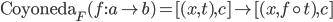 \mathtt{Coyoneda} _ F (f : a \rightarrow b) = [ (x, t), c ] \mapsto [ (x, f \circ t), c ]