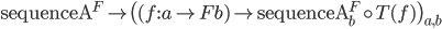 \mathtt{sequenceA} ^ F \mapsto \big( (f : a \to Fb) \mapsto \mathtt{sequenceA} ^ F _ b \circ T(f) \big) _ {a, b}