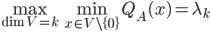 \max_{\dim V = k} \min_{x \in V\setminus\{0\}} Q_A(x) = \lambda_{k}