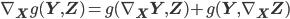 \nabla_{{\bf X}} g({\bf Y}, {\bf Z}) =  g(\nabla_{{\bf X}}{\bf Y}, {\bf Z}) + g({\bf Y}, \nabla_{{\bf X}}{\bf Z})