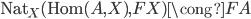 \operatorname{Nat} _ X (\operatorname{Hom}(A,X),FX) \cong FA