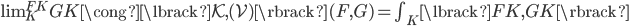 \operatorname{lim} _ K ^ {FK} GK \cong \lbrack \mathcal{K}, (\mathcal{V}) \rbrack (F,G) = \textstyle\int _ K \lbrack FK, GK \rbrack