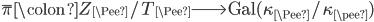 \overline{\pi}  \colon Z_\Pee/T_\Pee \longrightarrow \text{Gal}(\kappa_\Pee / \kappa_\pee)