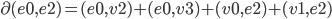 \partial (e0,e2) = (e0,v2) + (e0,v3) + (v0,e2) + (v1,e2)