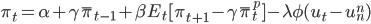 \pi_t = \alpha+\gamma\bar{\pi}_{t-1} +\beta E_t [\pi_{t+1} -\gamma \bar{\pi}^p_t ]-\lambda \phi(u_t-u^n_n )