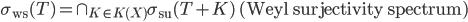 \sigma_{\rm ws}(T)=\cap_{K\in K(X)}\sigma_{\rm su}(T+K)\mbox{ (Weyl surjectivity spectrum)