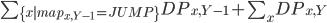 \sum_{\{ x| map_{x,Y-1} = JUMP \} } DP_{x,Y-1} +  \sum_{x} DP_{x,Y}