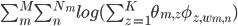 \sum_m^M\sum_n^{N_m}log(\sum_{z=1}^{K}\theta_{m,z}\phi_{z,w_{m,n}})