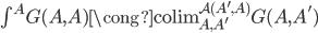 \textstyle\int ^ A G(A,A) \cong \operatorname{colim} _ {A,A'} ^ {\mathcal{A}(A',A)} G(A,A')