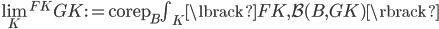 \textstyle\lim _ K ^ {FK} GK := \operatorname{corep} _ {B} \textstyle\int_ K \lbrack FK, \mathcal{B}(B, GK) \rbrack