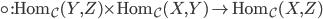 {\circ: \mathrm{Hom}_{\mathcal{C}}(Y,Z) \times \mathrm{Hom}_{\mathcal{C}}(X,Y) \to \mathrm{Hom}_{\mathcal{C}}(X,Z)}