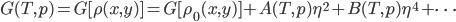 {\displaystyle G(T,p) = G[\rho(x,y)] = G[\rho_0(x,y)] + A(T,p)\eta^2 + B(T,p)\eta^4 + \cdots }