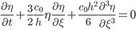 {\displaystyle \frac{\partial\eta}{\partial t} + \frac{3}{2}\frac{c_0}{h}\eta\frac{\partial\eta}{\partial\xi} + \frac{c_0h^2}{6}\frac{\partial^3\eta}{\partial\xi^3} = 0}
