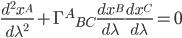 {\displaystyle \frac{d^2x^A}{d\lambda^2} + \Gamma^A{}_{BC}\frac{dx^B}{d\lambda}\frac{dx^C}{d\lambda} = 0}