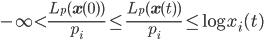{\displaystyle -\infty \lt \frac{L_p(\mathbf{x}(0))}{p_i} \le \frac{L_p(\mathbf{x}(t))}{p_i} \le \log x_i(t)}