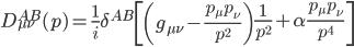 {\displaystyle D_{\mu\nu}^{AB}(p) = \frac{1}{i}\delta^{AB}\left[\left(g_{\mu\nu} - \frac{p_{\mu}p_{\nu}}{p^2}\right)\frac{1}{p^2} + \alpha\frac{p_{\mu}p_{\nu}}{p^4}\right]}